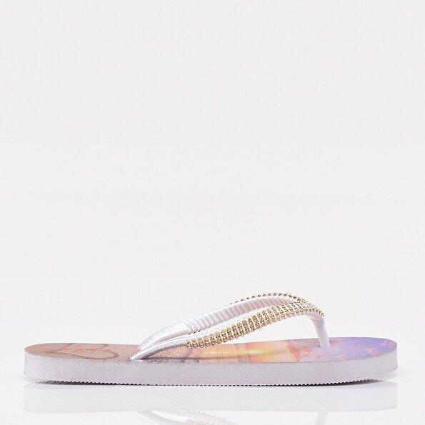 Resim Beyaz Yaya Kadın Sandalet &Terlik