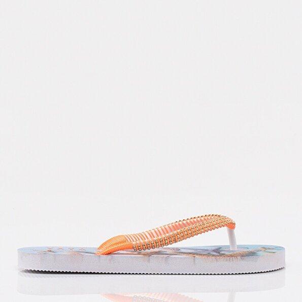 Resim Turuncu Yaya Kadın Sandalet &Terlik