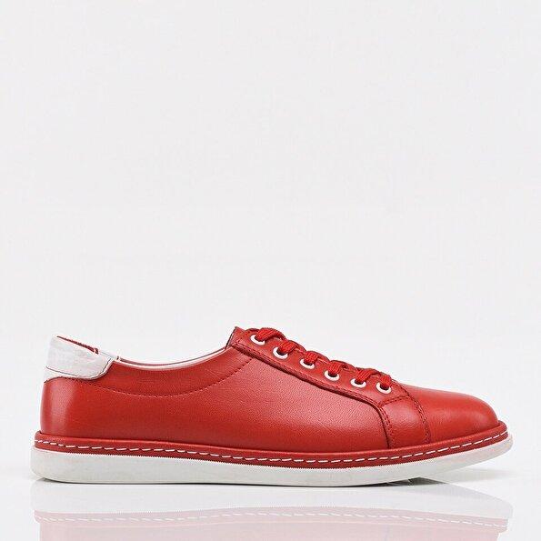 Resim Hakiki Deri Kırmızı Kadın Spor Ayakkabı