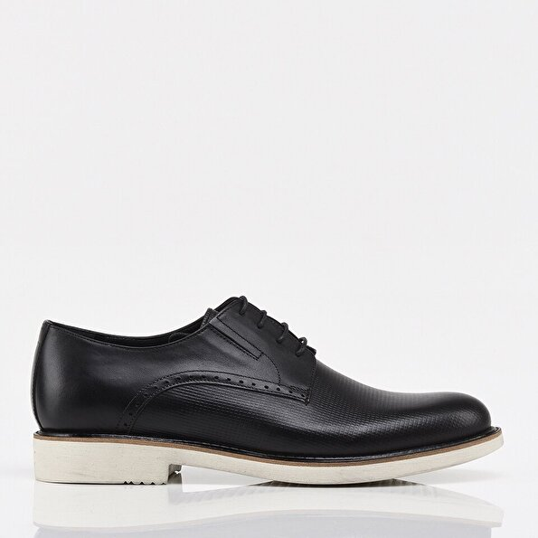 Resim Hakiki Deri Siyah Erkek Günlük Ayakkabı