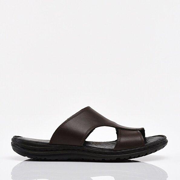 Resim Hakiki Deri Kahve Erkek Sandalet & Terlik