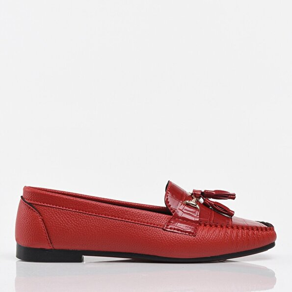 Resim Kırmızı Yaya Kadın Günlük Ayakkabı