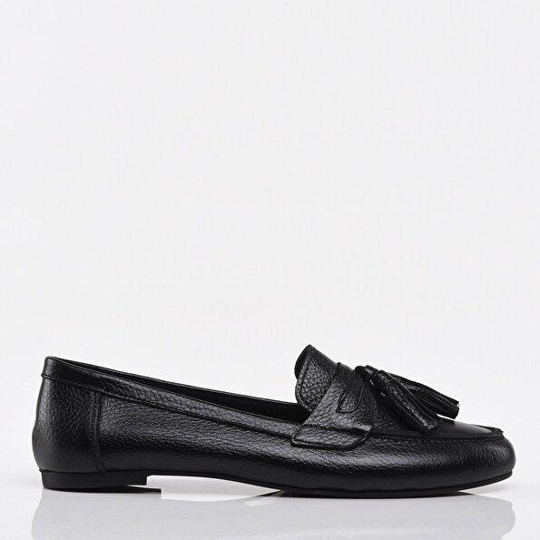 Resim Hakiki Deri Siyah Kadın Loafer