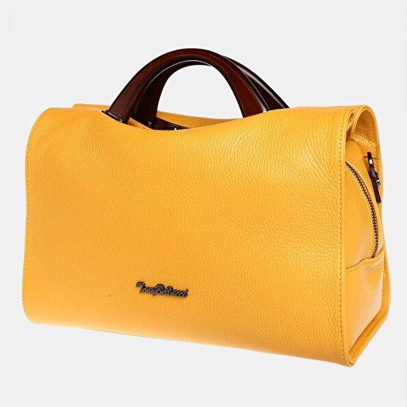Resim Hakiki Deri Sarı Kadın Çanta