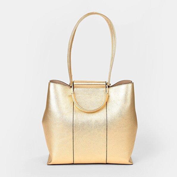 Resim Hakiki Deri Gold Kadın Çanta