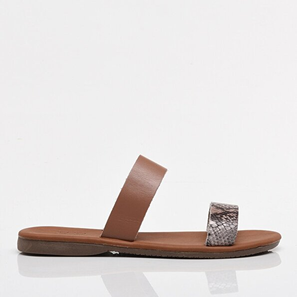 Resim Hakiki Deri Pudra Yaya Kadın Sandalet & Terlik