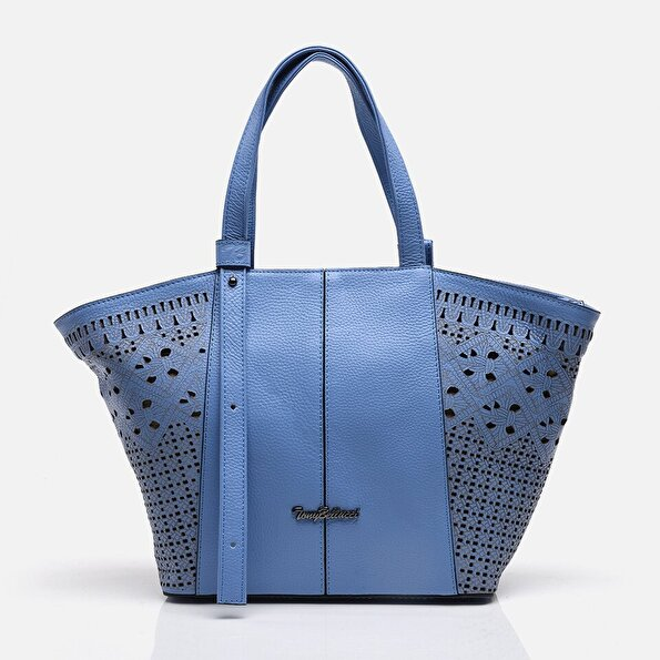 Resim Hakiki Deri Mavi Kadın Çanta
