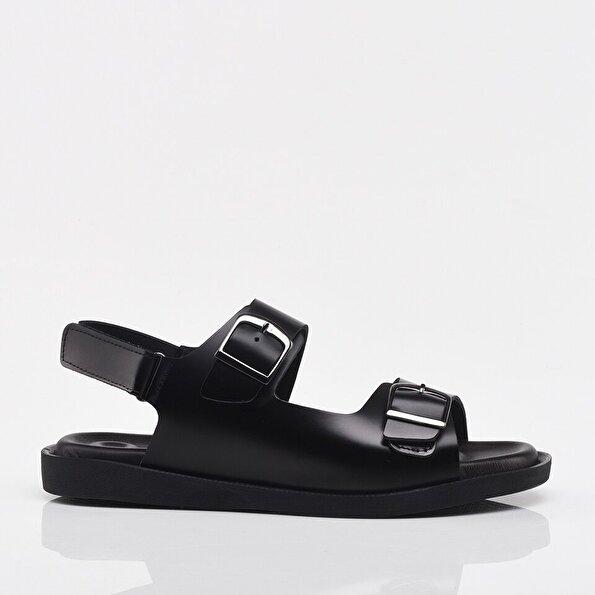 Resim Hakiki Deri Siyah Erkek Sandalet & Terlik