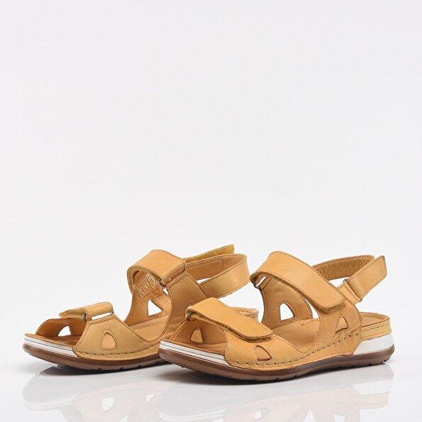 Resim Hakiki Deri Mango Kadın Düz Sandalet