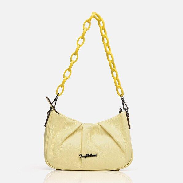 Resim Hakiki Deri Açık Sarı Kadın Mini (Çapraz) Çanta