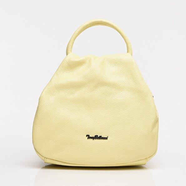 Resim Hakiki Deri Açık Sarı Kadın Çanta