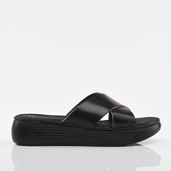Resim Hakiki Deri Siyah Yaya Kadın Sandalet & Terlik