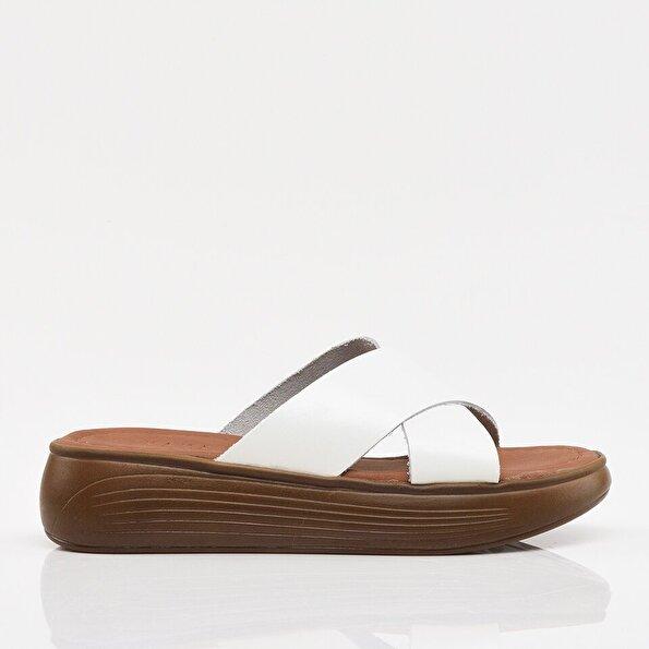 Resim Hakiki Deri Beyaz Yaya Kadın Sandalet & Terlik